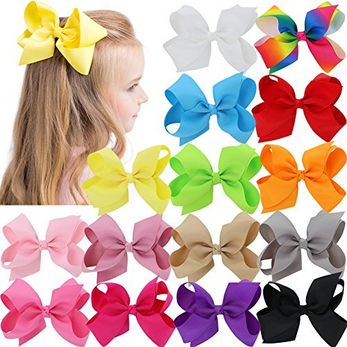 Bows For Girls Grosgrain Boutique Big Hair Bow Clips For Teens Toddlers Kids Children Set Of 15 by Babymatch (Image #3)