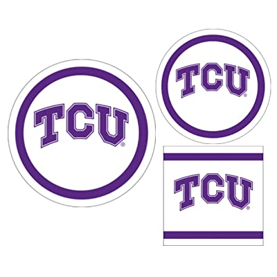 TCU Horned Frogs Party Supplies Themed Paper Plates and Napkins Serves 10 Guests: Health & Personal Care