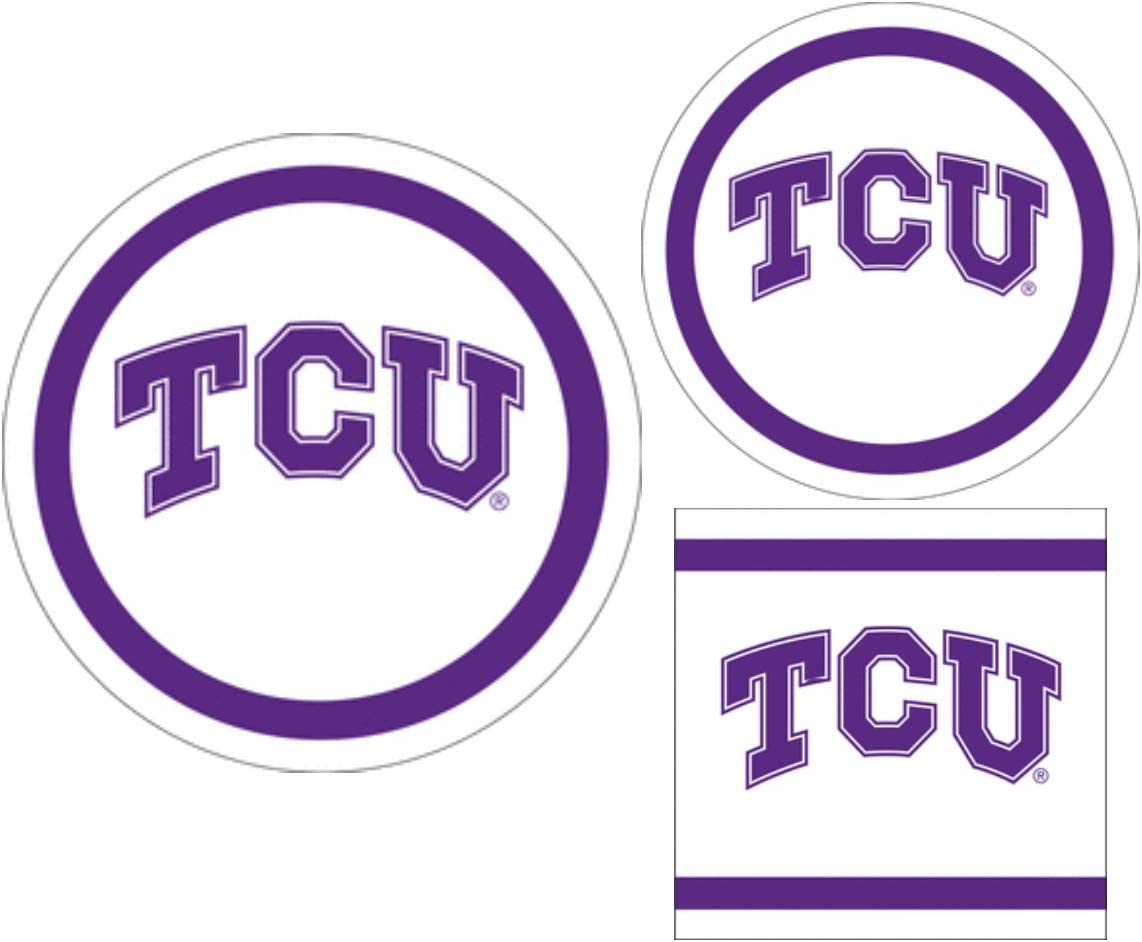 TCU Horned Frogs Party Supplies Themed Paper Plates and Napkins Serves 10 Guests