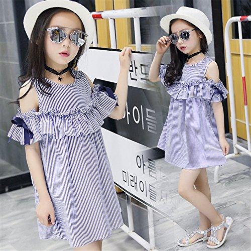 FTSUCQ Girls Off Shoulder Striped Print Dress (130(7-8Y), Blue) by Dillian Dress (Image #3)