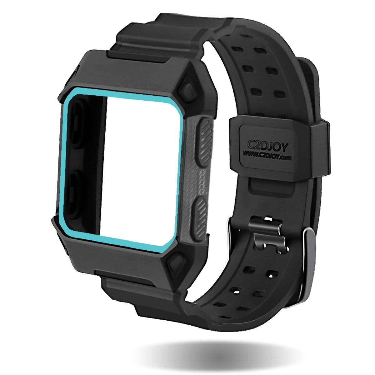 Para Fitbit Ionic - Funda de repuesto - c2djoy Rugged Protective Frame caso accesorio deporte bandas para Fitbit Ionic reloj tamaño (5,5 - 8.1 Inch), ...