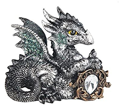 StealStreet Cancer Zodiac Stone Embellished Dragon Collectible Figurine, Grey