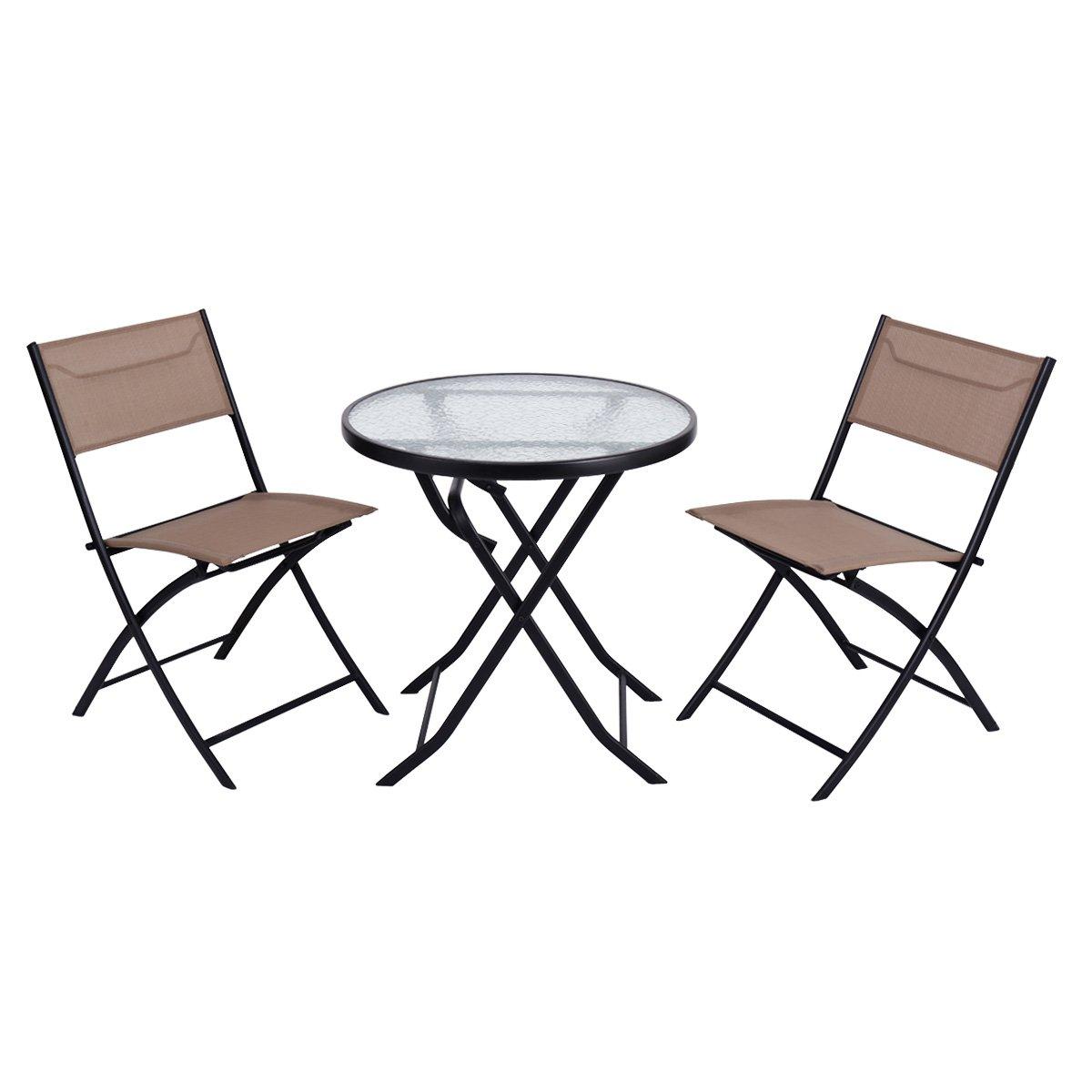 Giantex 3 Piece Table Chair Set Metal Tempered Glass Folding Outdoor Patio Garden Pool (Yellowish)
