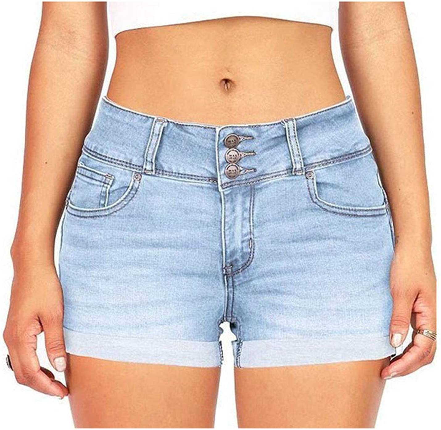 Tanming Women's Casual Mid Rise Stretchy Enhancing Pockets Rolled Cuff Denim Shorts