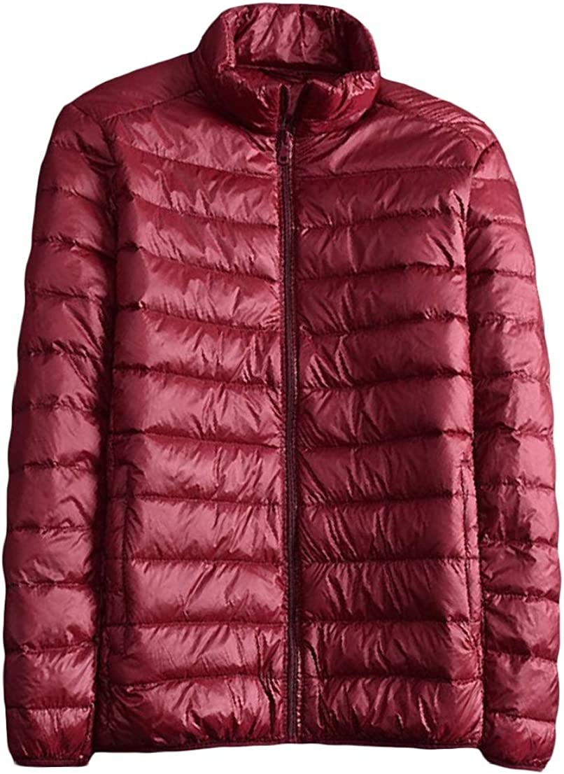 BAYY Mens Ultra-Light Quilted Zipper Stand Collar Packable Puffer Down Coat