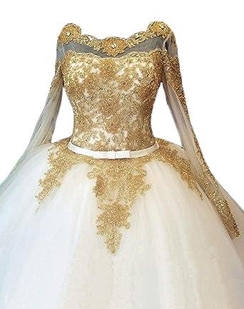 Mauwey Plus Size Luxury Gold Appliques Beads Long Sleeve Corset Ball ...