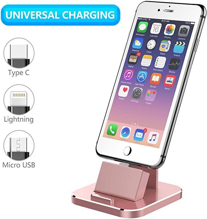 ONX3 Silver Desktop Charger Micro USB Base Stand Data Sync Charging Docking Station Compatible With Samsung Galaxy J6