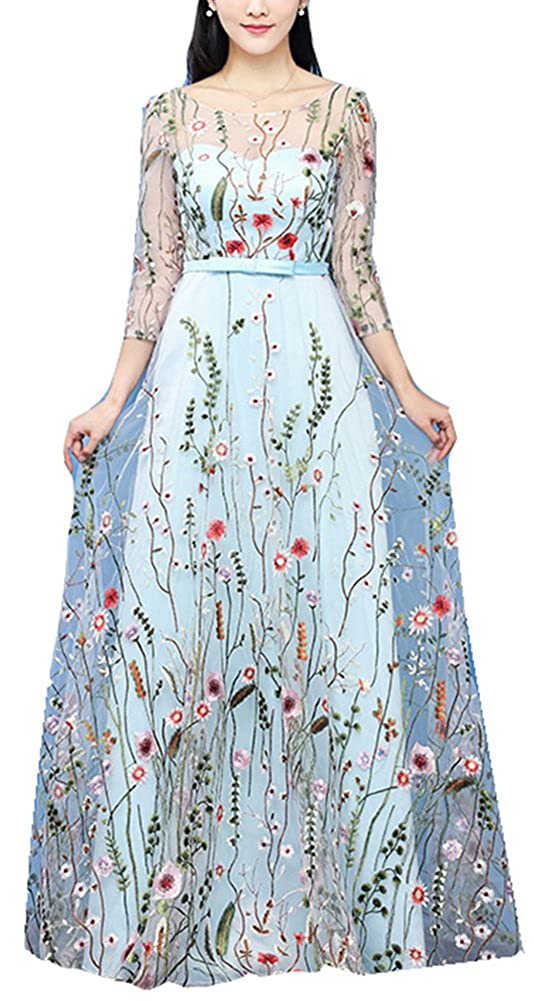 D Style  Sky bluee Honeydress Women's FloralEmbroidered Long Sleeve Maxi Dress Prom Gown