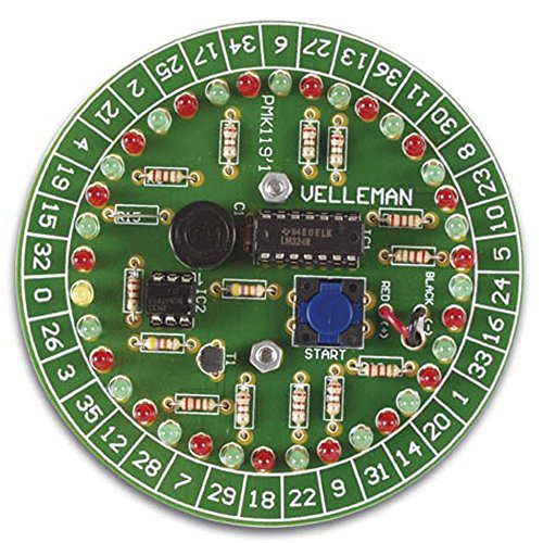 Velleman MK119-VP Roulette Kit, 37 LEDs, Requires 3 AA Batteries, 3.6