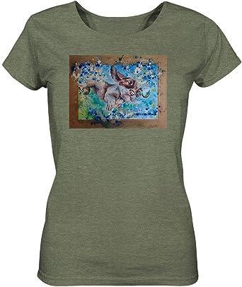 Quermalerei - Camiseta de Manga Corta para Mujer, diseño de Perro: Amazon.es: Ropa y accesorios