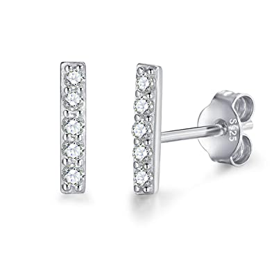 4be7bd6c8 MASOP 925 Sterling Silver Bar Stud Earrings Hypoallergenic 14K White Gold  Plated Dainty Mini Bar with
