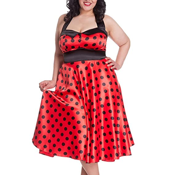 HELL BUNNY Red Polka Dot 50s Plus Size Prom Dress