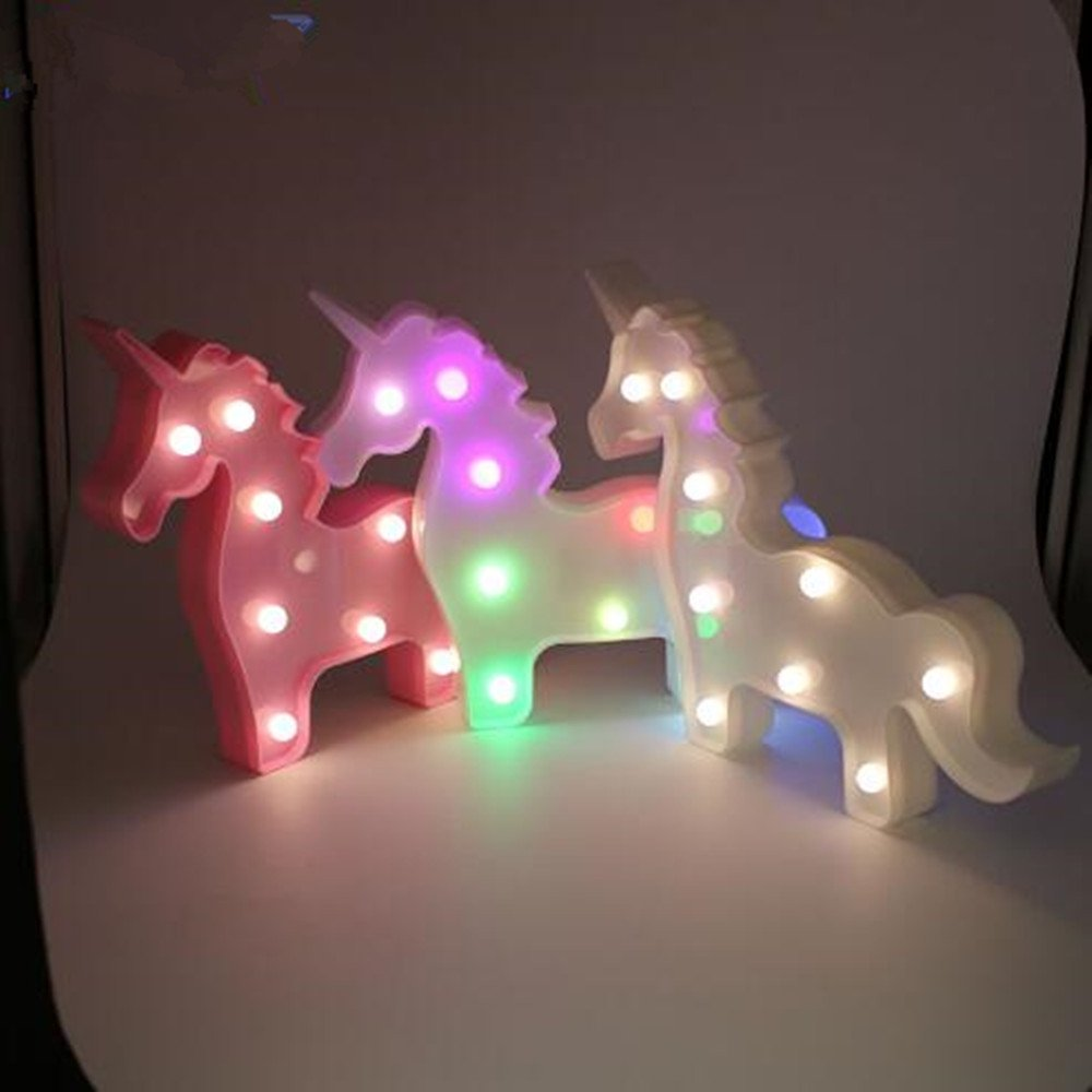 LED Unicorn Lights Battery Operated Color Changing Night Lights Kids Room Decorative Rainbow Table Lamps Baby Nursery Light