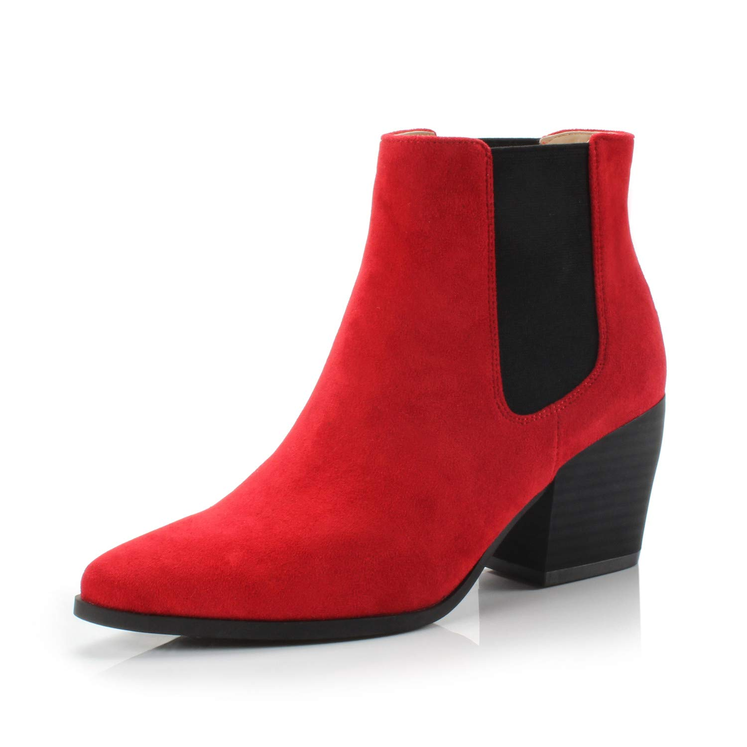 Bliss Red Fabric DUNION Women's Slip On Glamour Fashion Chunky Heel Ankle Boot