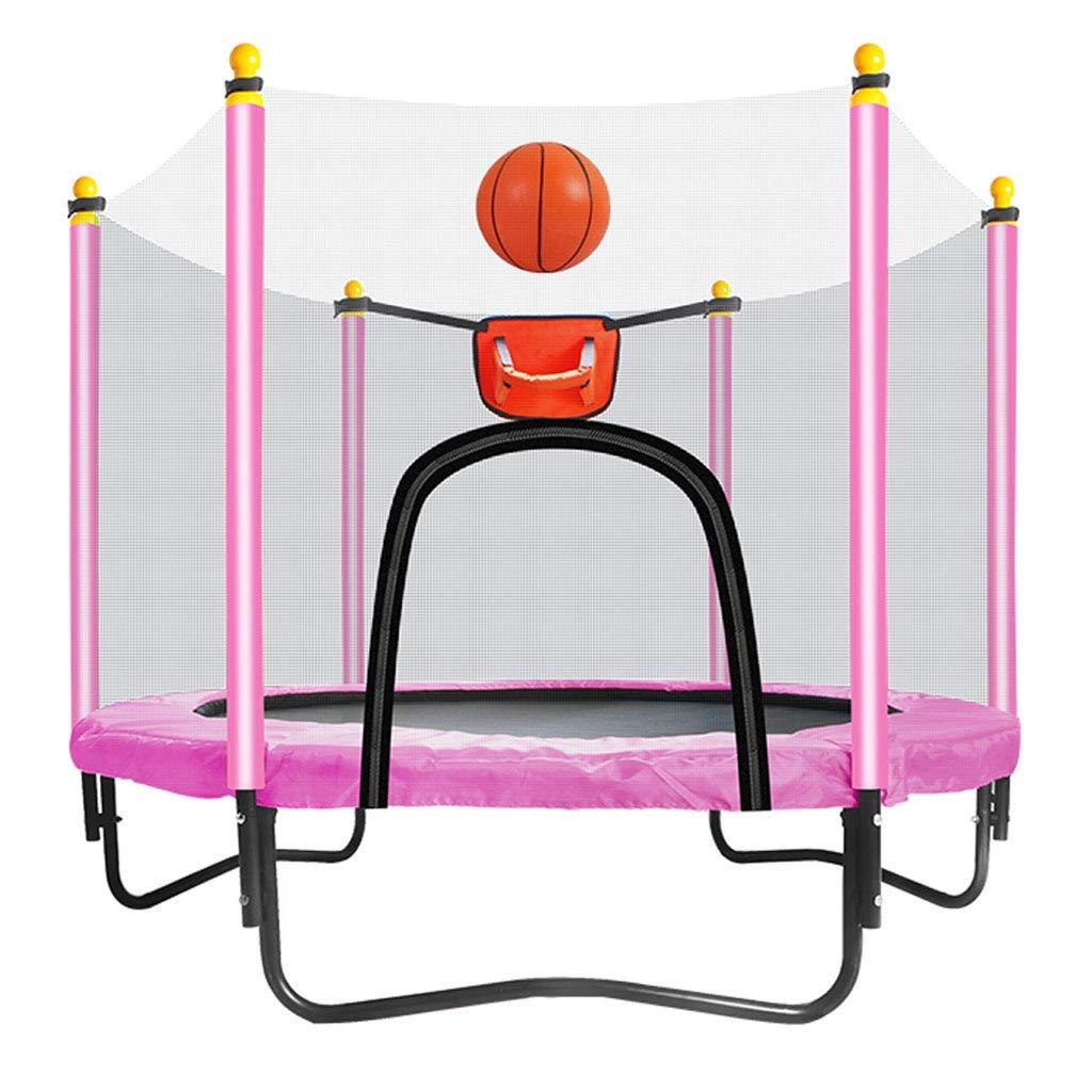 子供用 ミニトランポリン 安全パッド付き 静かで安全なバウンドスプリングミニ 子供の誕生日プレゼント ファスナー付きドアとバスケットボールフープ 子供用ペダル (ボールを除く) ピンク CGF-Fitness Trampolines ピンク