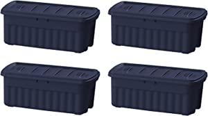 Rubbermaid Roughneck Storage Tote, 50 Gal, Dark Indigo Metallic, Pack of 4, Rugged, Reusable, Stackable, Container