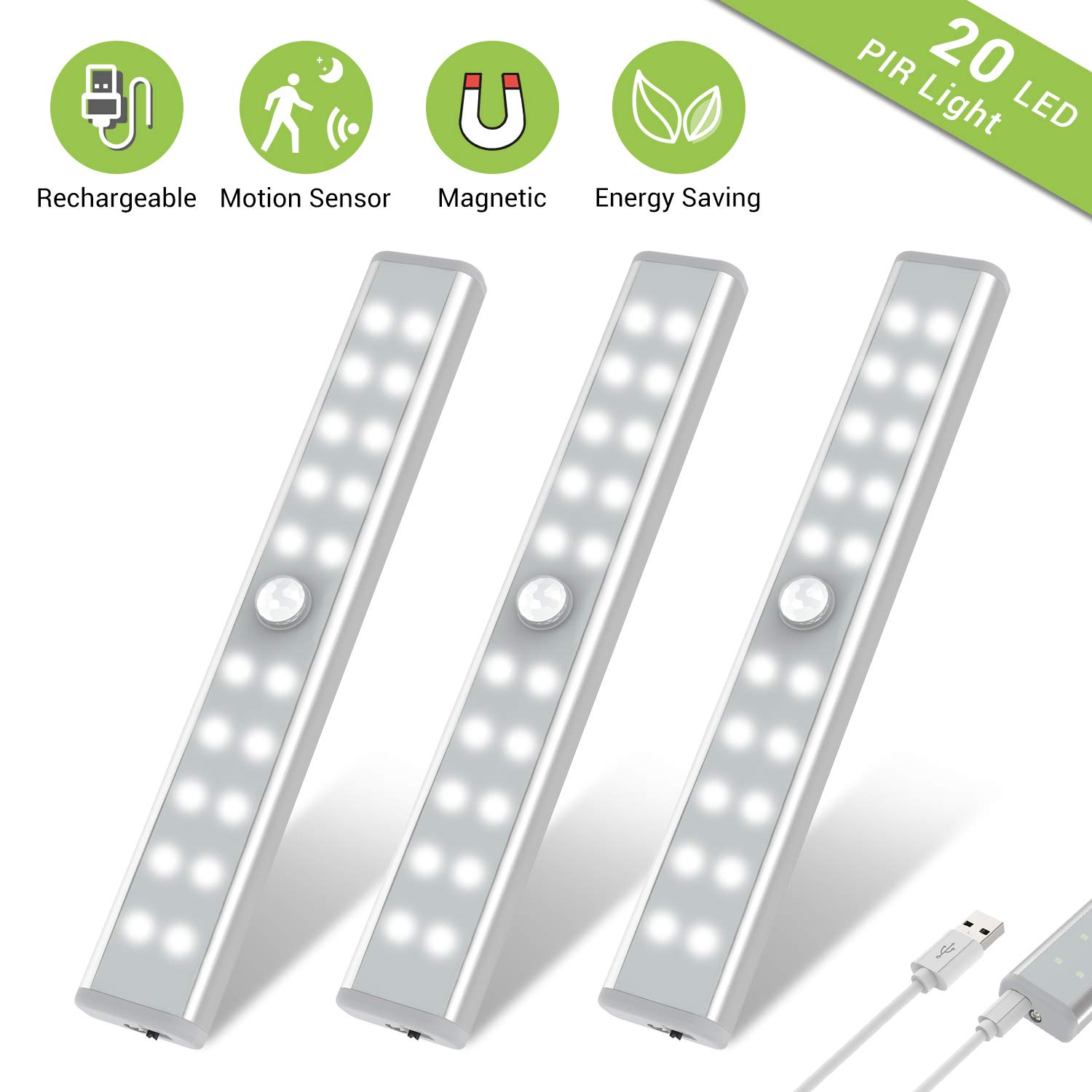 Wardrobe Light, OxyLED Motion Sensor Closet Lights, 20 LED Under Cabinet Lights, USB Rechargeable Stick-on Stairs Step Light Bar, LED Night Light, Safe Light with Magnetic Strip, 3-Pack, T-02U by OxyLED
