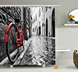Ambesonne Bicycle Decor Collection, Classic Bike on Cobblestone Street in Italian Town Leisure Charm Artistic Photo, Polyester Fabric Bathroom Shower Curtain, 84 Inches Extra Long, Red Black and White