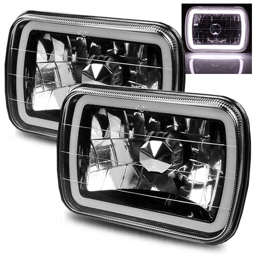ModifyStreet 7x6 H6014/H6052/H6054 Black Crystal Headlights Lamps Conversion with White Hi-Power 3D Halo Tube Ring