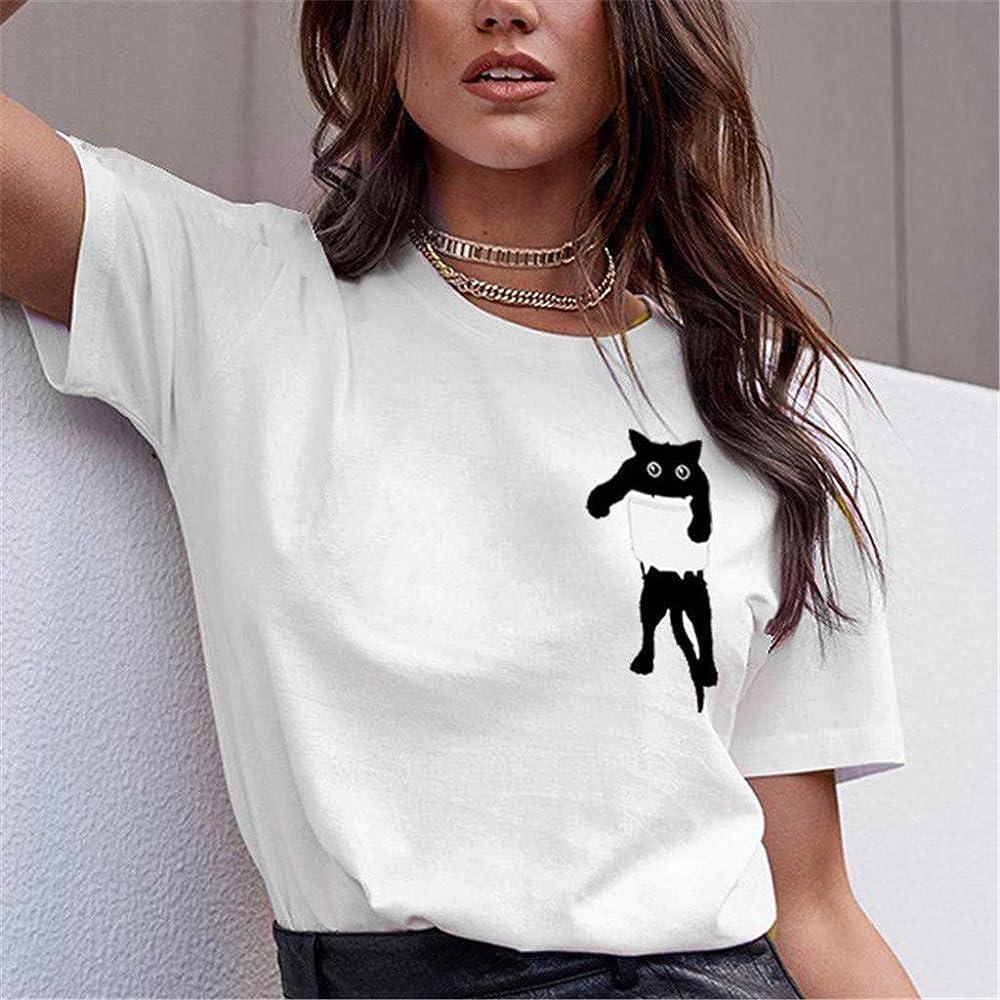 Luckycat Camisetas Tops Estampada para Mascotas de Mujer