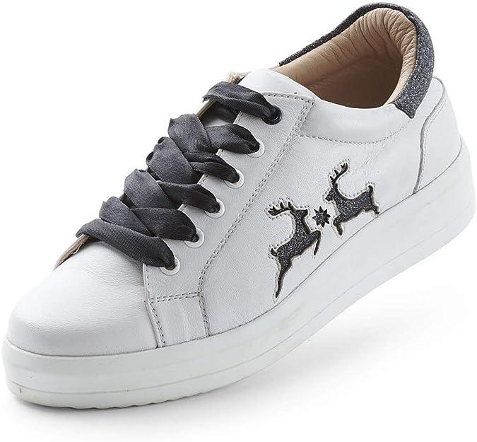 MADDOX Damen Trachten Sneaker Dorli Leder Schuhe Weiß