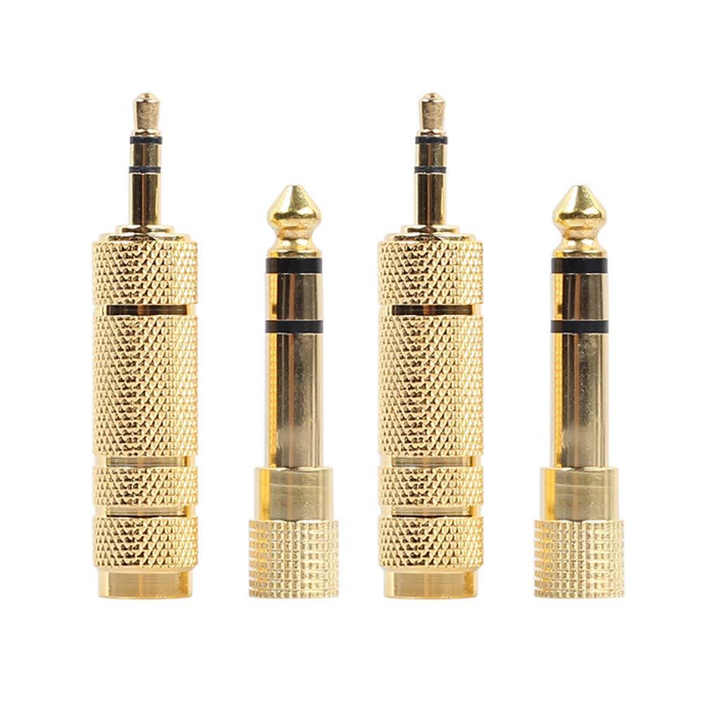 GROOMY Spina Adattatore da Jack Audio Stereo Maschio da Maschio a Maschio 4 Pezzi 3, 5 mm da 1/8'a 6, 5 mm 1/4' 5 mm da 1/8a 6 5   mm 1/4