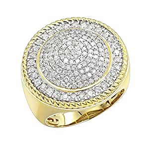 Mens Unique 10K Gold Large Diamond Round Shape Ring 2ctw (Yellow Gold, Size 11.5)