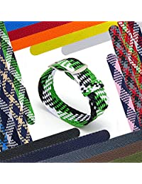 CIVO 20 mm Simple Design NATO Watch Strap Premium Nylon Perlon Braided Woven Watch Bands with Stainless Steel Buckle (Black/Shamrock/Ivory, 20mm)