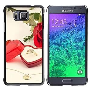 YiPhone /// Prima de resorte delgada de la cubierta del caso de Shell Armor - Love Wedding Ring;; - Samsung GALAXY ALPHA G850