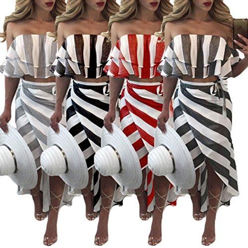 Haut Noir Irregulier Jupes Longue Courtes de Chic Deux Raye Blouses t Chemisiers Court Femmes Sexy Plage Tops Col Morceaux Ensembles Manches Fashion Bateau Crop BganWqWPR