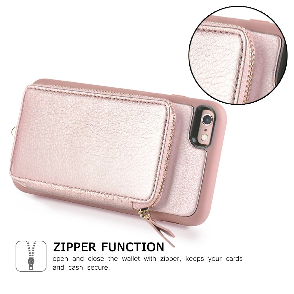 iPhone 6 Plus Wallet Case, iPhone 6 Plus Card Holder Case, ZVE iPhone 6 Plus Leather Cases with Credit Card Slot & Zipper Wallet Purse, Protective Cover for Apple 6 Plus/Apple 6s Plus- Rose Gold by ZVEdeng (Image #6)