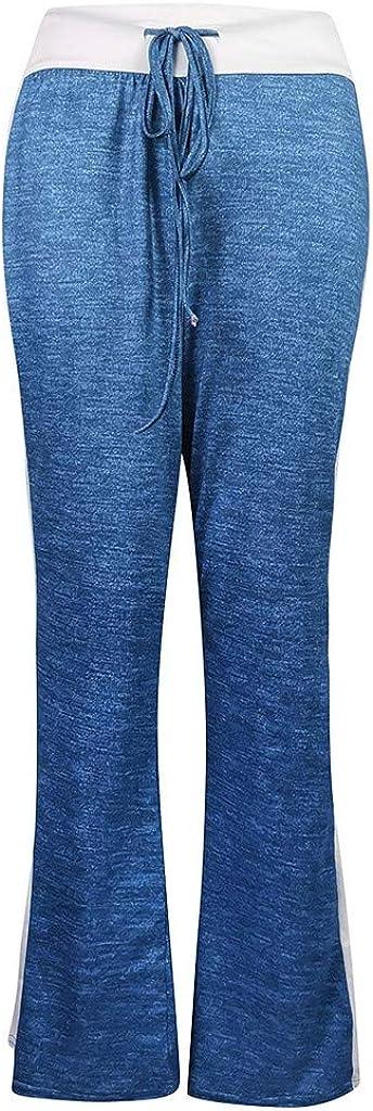 Pongfunsy Womens Wide Leg Pants Fashion Leisure Loose Solid Patchwork Trousers Leisure Long Sweatpants Loose Yoga Pants