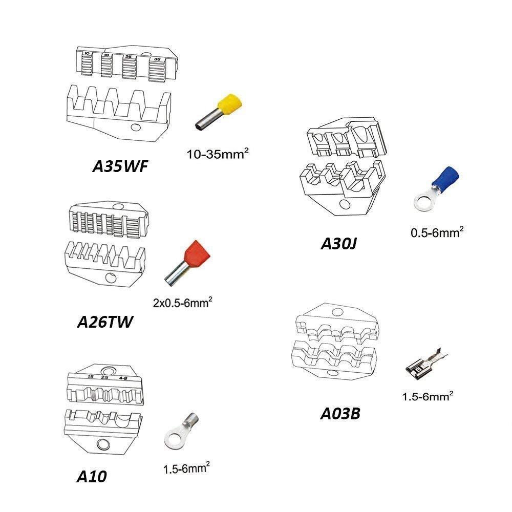 Malayas Alicates para Crimpadora 5 en 1 Alicates de Prensar con Destornillador y Caja de Almacenamiento Crimpadora con 5 Pinzas Intercambiables para Terminales