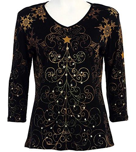 Jess & Jane Christmas Star 3/4 Sleeve V Neck Women's Shirt