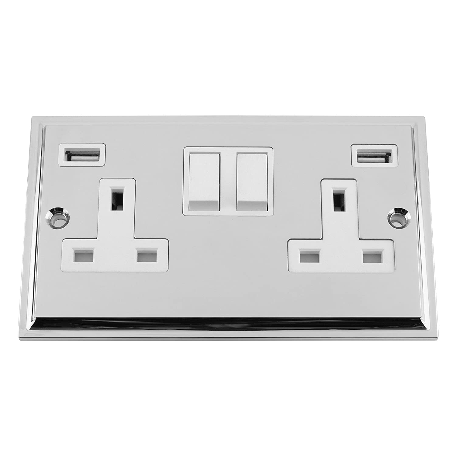 USB Socket 2 Gang - Polished Chrome - Victorian - White Insert Plastic Rocker Switch - 13A Double Wall Plug USB Socket 3 A5 Products Ltd