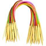 """CrazyEve Circular Colorful Tube Bamboo Knitting Needles Set 18 Sizes 16"""" (40cm)"""