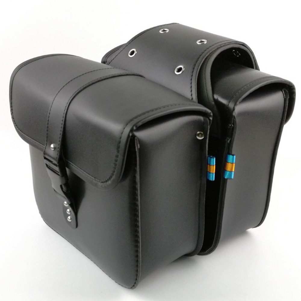 1 Pair Motorcycle Side Saddlebags PU Leather Waterproof Rear Seat Saddle Bag Travel Tool Tail Luggage Black AUTLY