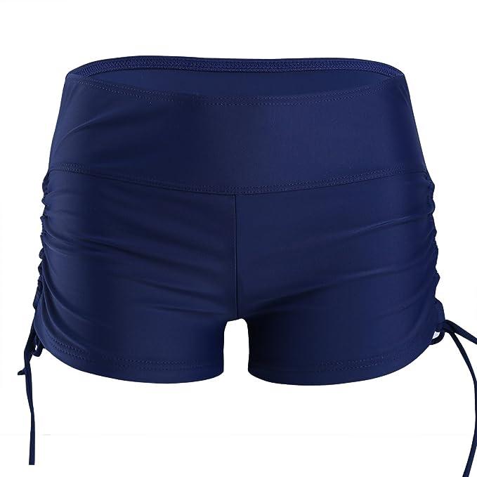 IEFIEL Short de Baño Natación Deporte Mujer Bikini Bottoms Bañador Traje de Baño Pantalones Cortos de Protección UV Cordones Ajustables