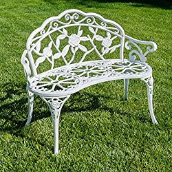 Belleze Rose Style Love Seat Bench White Cast Iron Antique Designed Outdoor Patio Porch Home Garden Parks Backyard Pool