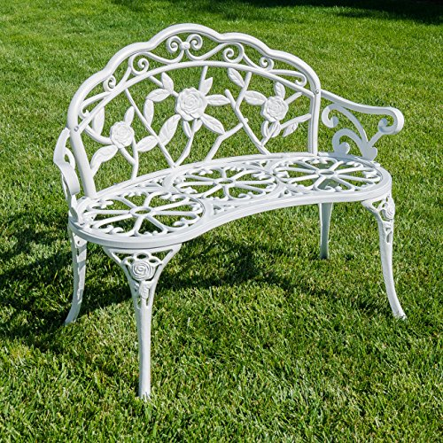 Belleze Rose Style Love Seat Bench White Cast Iron Antique Designed Outdoor Patio Porch Home Garden Parks Backyard - Iron Brick Cast Finish