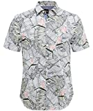 BOSS Men's Slim Fit Cattitude_1-Short Printed Shirt White M