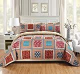 Fancy Linen 3pc Full/Queen Quilt Bedspread Set Over Size Bed Cover Squares Floral Taupe Brown Blue Red New