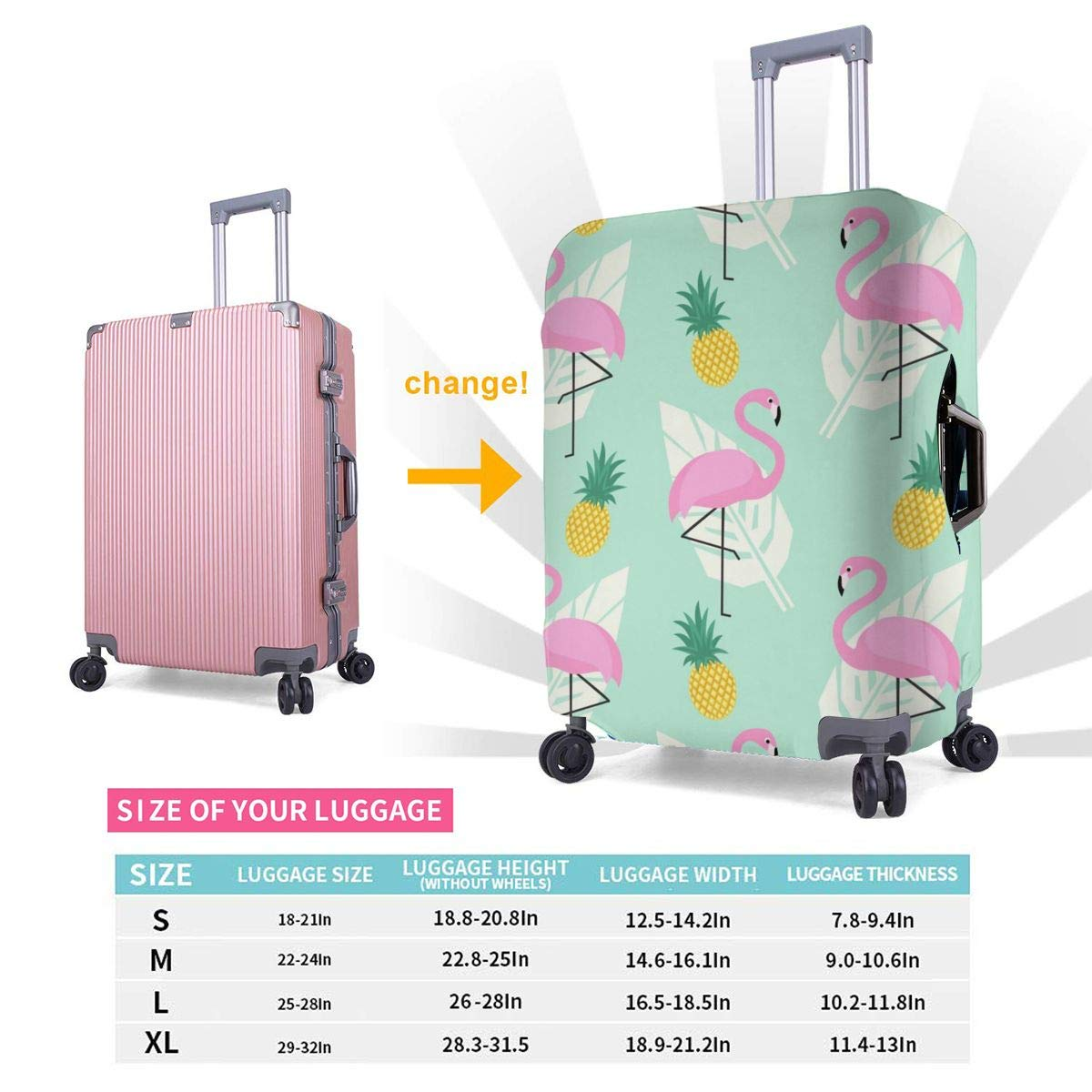 Pink Flamingos Travel Luggage Cover Suitcase Protector Washable Zipper Baggage Cover