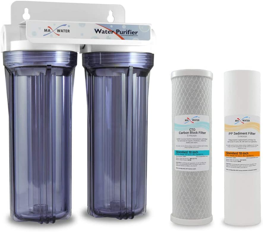 Max Water Whole House Water Filter Housing, 2 Stage 10 inch Housing for Under Sink Reverse Osmosis Water Filtration System, with Sediment and CTO Carbon Filters (RVS, Well, Pool or Boiler Water)