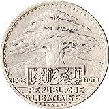 1929 French Lebanon 50 Piastres Silver C