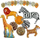 "Custom, Fun & Cool {XXL Massive Huge Size 11''-43"" Inch} 20 Pack of Helium & Air Inflatable Latex Rubber Balloons w/ Safari Happy Birthday Animal Design [in Orange, Brown, Yellow & White]"