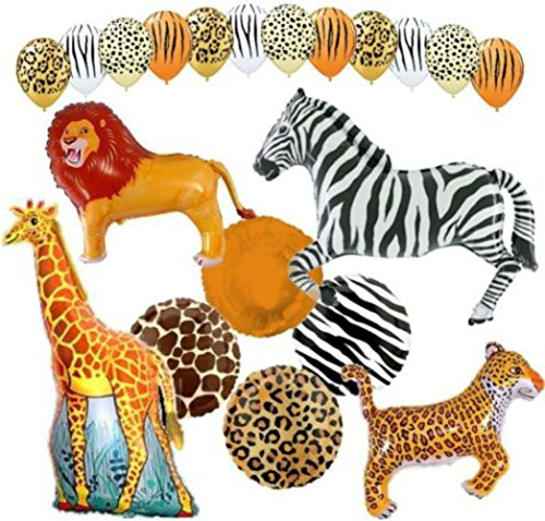 "Custom, Fun & Cool {XXL Massive Huge Size 11''-43"" Inch} 20 Pack of Helium & Air Inflatable Latex Rubber Balloons w/ Safari Happy Birthday Animal Design [in Orange, Brown, Yellow & White] by mySimple Products"