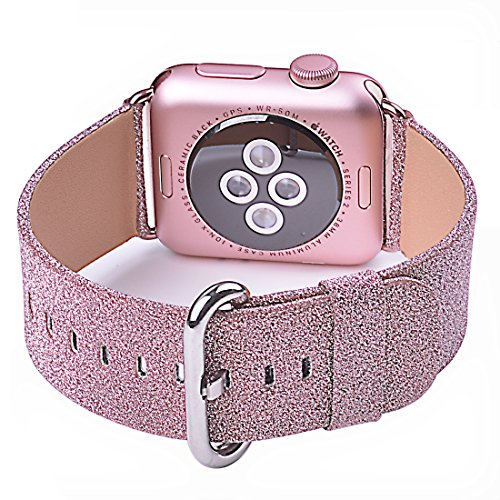 Price comparison product image Apple Watch Band, iitee Glitter Bling Replacement Leather Bracelet for Apple Watch Series 3 Series 2 Series 1(38mm Pink Glitter)