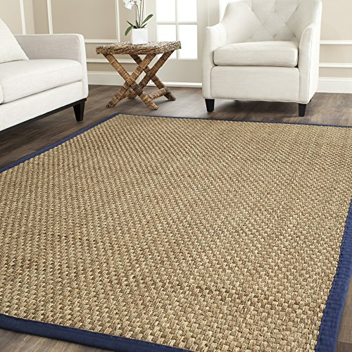 Safavieh Natural Fiber Collection NF114E Basketweave Natural and  Blue Seagrass Area Rug (9' x 12') (Seagrass Border Rug)