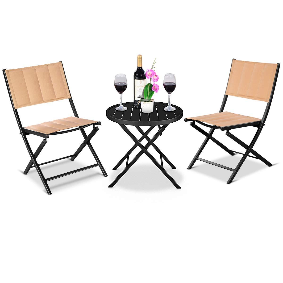 Giantex 3PCS Patio Folding Table Chairs Furniture Set Bistro Garden Steel